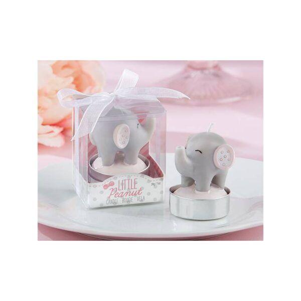 Vela Bautizo elefante rosa